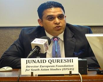 Publication: Junaid Qureshi (Director EFSAS) speaking during EFSAS side-event at the 37th Session of the UNHRC